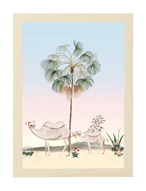 tableau, affiche, poster, oasis, palmier, palmer, chameau, camel, cactus