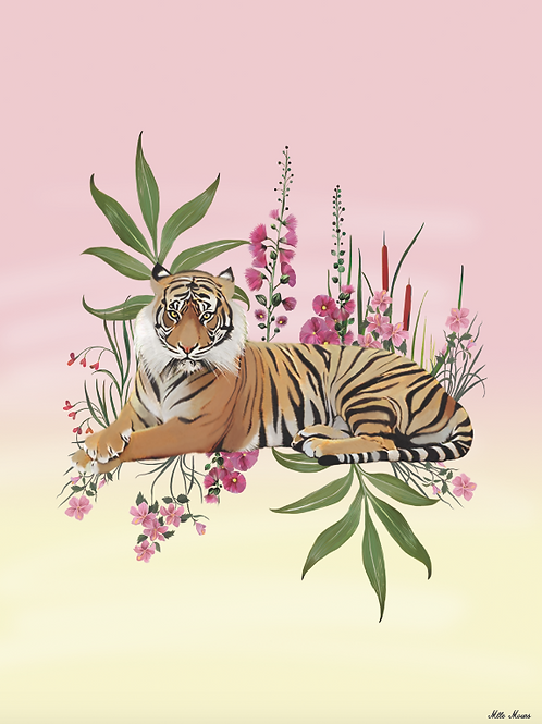 tableau, affiche, poster, tigre, tiger, fleur, rose, pink