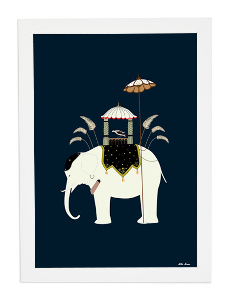 tableau, affiche, poster, elephant, inde, india