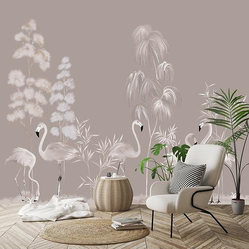 flamingo, flamand, papier peint panoramique, panoramique, wallpaper, walldeco, fresque, papelpintado, panoramic, decormural