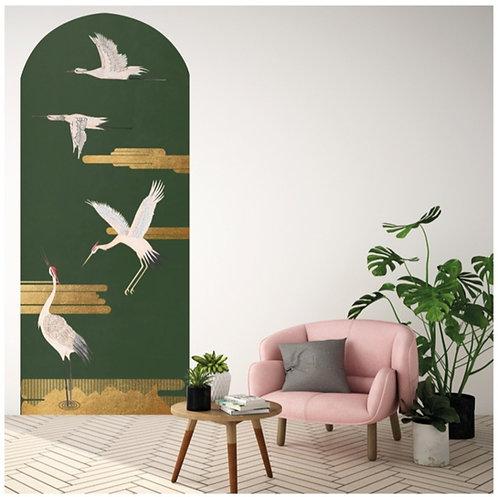 or, papierpeint, tapisserie, panoramique, birds, wallpaper, walldecor, fresque, gold, panoramic, decor mural