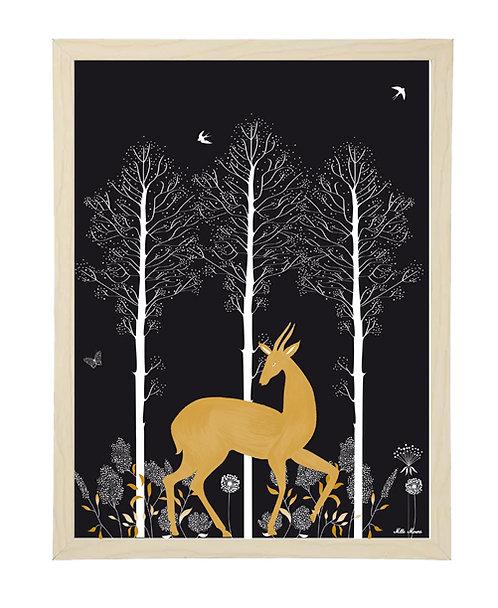tableau, affiche, poster, cerf, forest, foret