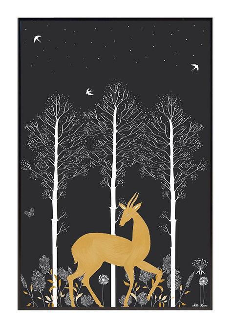 tableau, affiche, poster, forest, foret, cerf