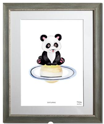 panda, saturne, planète, animal, maison juli, illustration, aquarelle, dessin