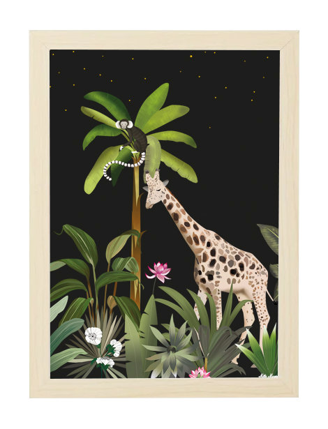 tableau, affiche, poster, image, girafe, singe, monkey , jungle