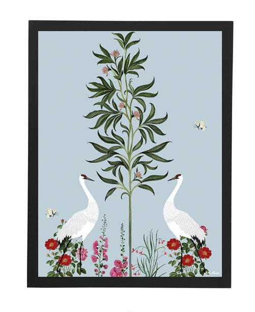 tableau, affiche, poster, savane, palmier, palmer, cranerouge, oiseau, bird, vegetation, flower, fleur
