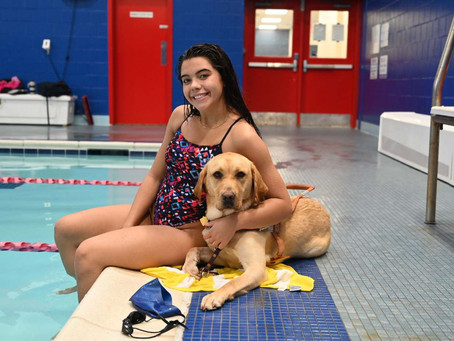 BLIND TEEN SWIMS FOR GOLD