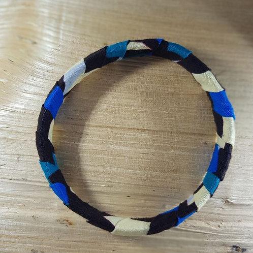 Bracelet tissu Wax Bleu