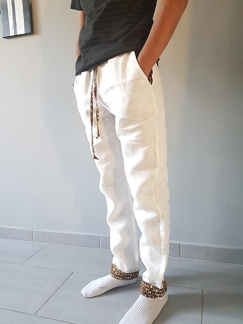 Pantalon Lin blanc et Wax