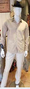 vetement wax lin homme pantalon chemise beige