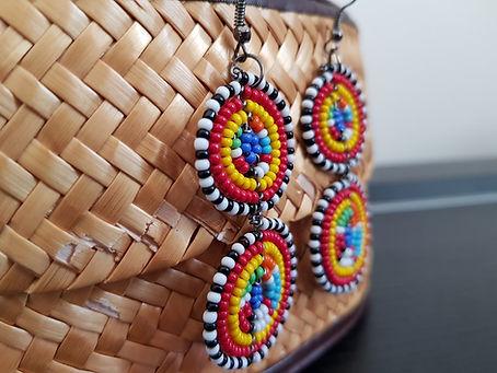 boucle d'orielle perles senegal couleur artisana