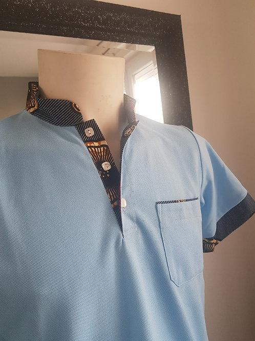 Polo bleu clair Maille piquée et Wax