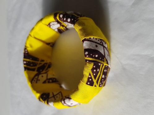 Bracelet tissu Wax jaune et marron