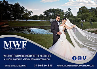 Bride and Groom at a park on ther weddng day with Modern Weddings Film inforation