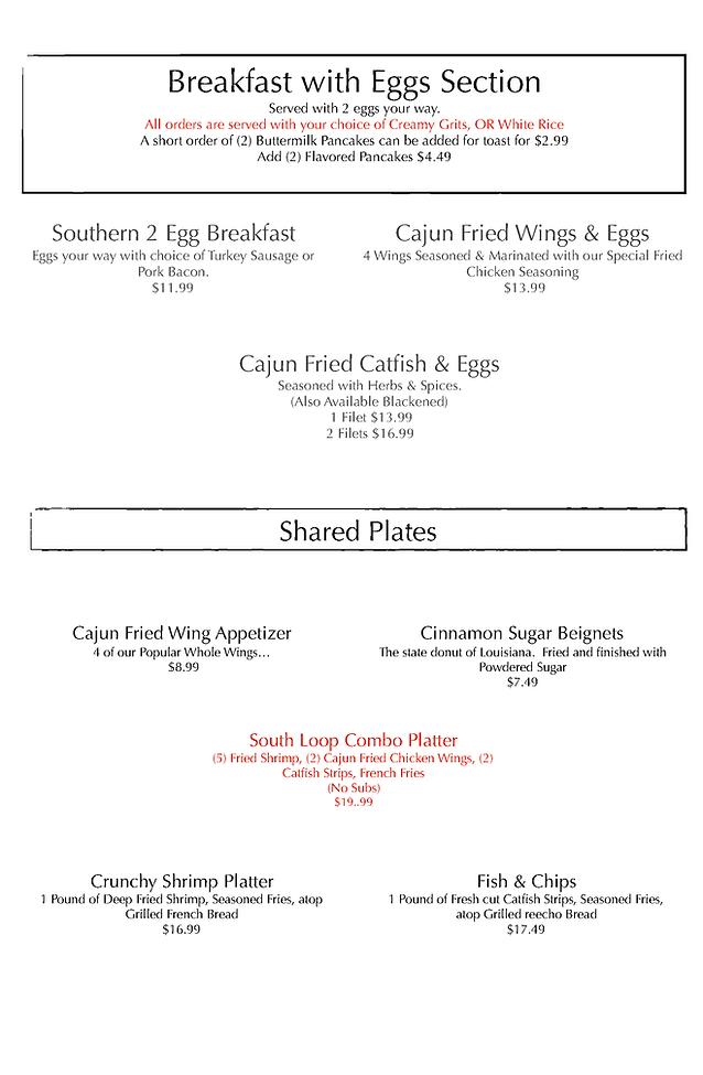 Flavor Cajun South Loop Breakfast Menu (