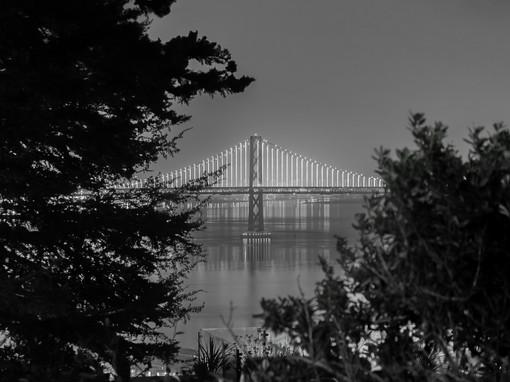bay bridge on a foggy night