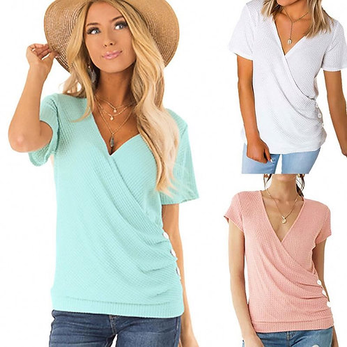 Women Slim Solid Color V-neck Elastic Short Sleeve