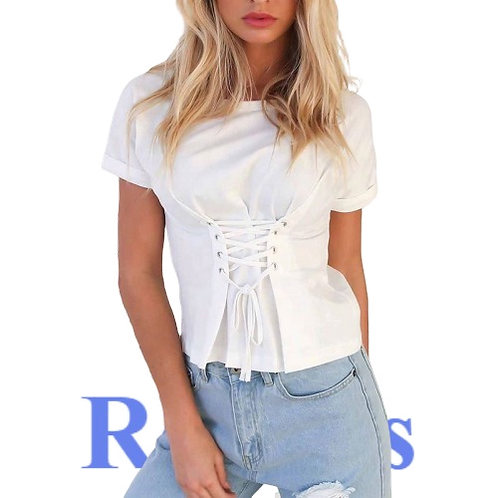 Womens T-Shirts waist bandage design