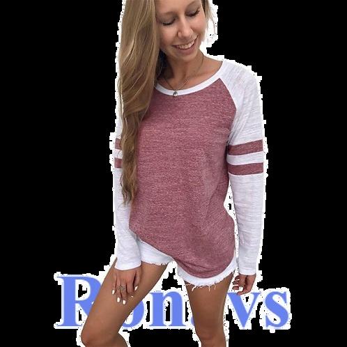 Women T-Shirt Striped O Neck Long Sleeve Casual