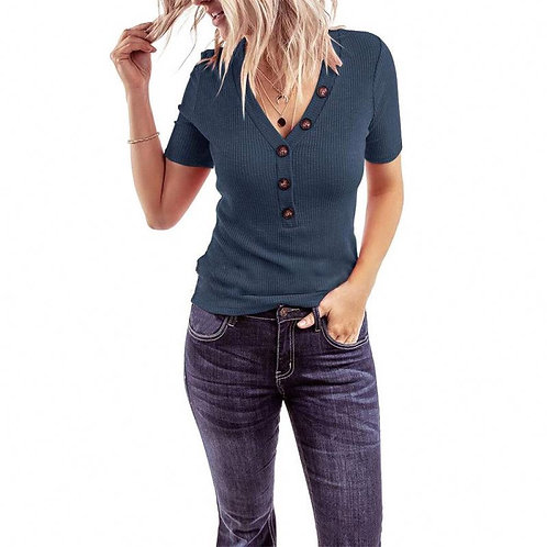 Women Color Elastic Short Sleeve V-neck Knitwear Button T-shirt Tops