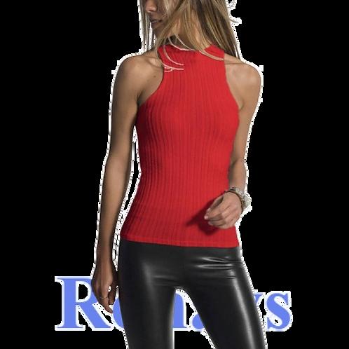 Womens T-Shirts  Elastic Sleeveless Knitwear