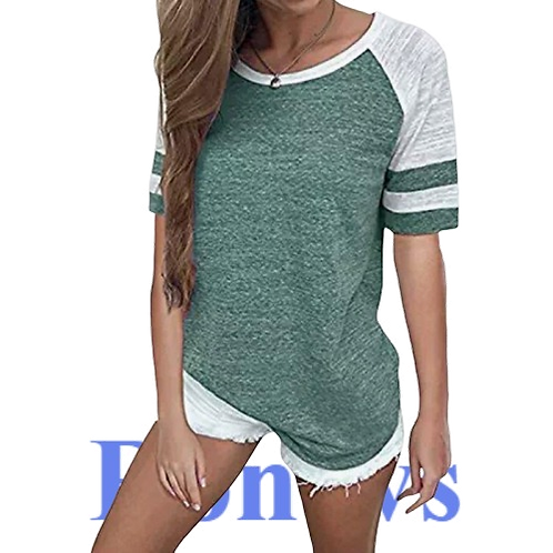 Womens T-Shirts  Summer Short Sleeve Solid Candy Color