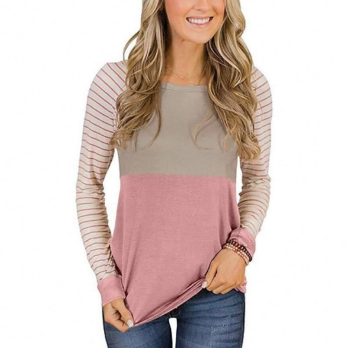 New Fashion Womens Girls O-neck Color Matching Long Sleeve Tops