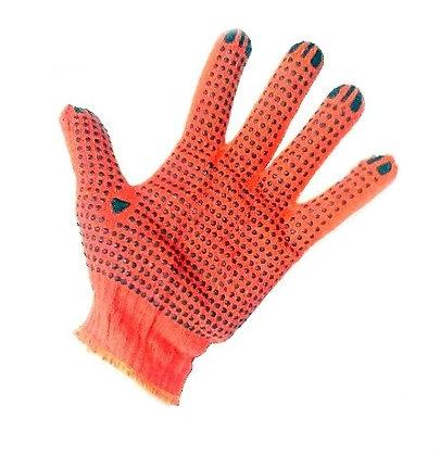 Рукавиці робочі з ПВХ крапкой оранжеві