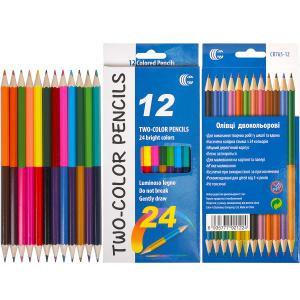 Олівець кольоровий «TWO-COLOR» «С» двосторонній 24 кольори