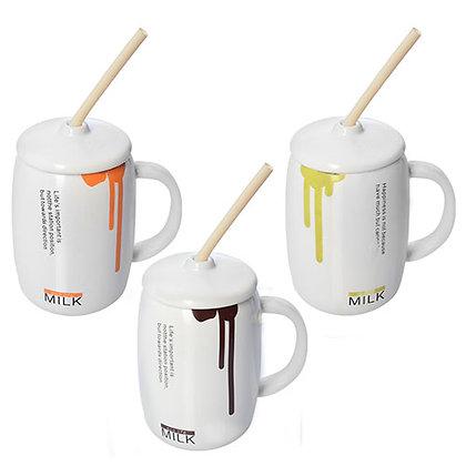 """Чашка """"Milk"""" з кришкою і трубочкою, 0.4 л. R86176"""