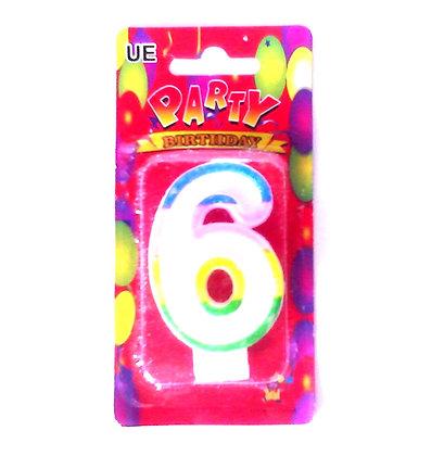 """Свічка для торта """"Цифра 6"""" Party"""