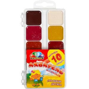 """Акварель """"Гамма"""" 10 кольорів, пластикова основа"""