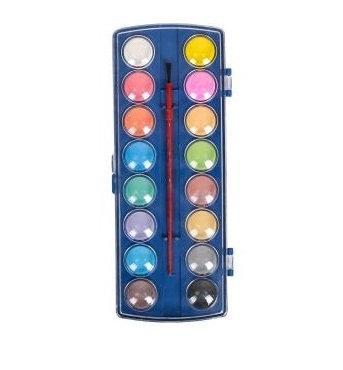 Акварель суха 16 кольорів, пластик