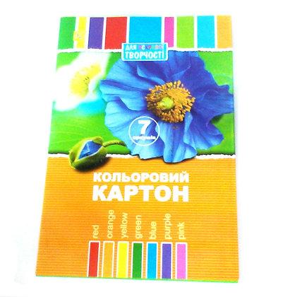 """Картон кольоровий """"Коленкор"""" 7 аркушів"""