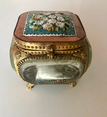 Antique Italian Jewelry Box Micro Mosaic