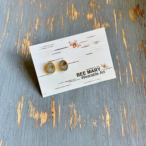 Marble Stud Dainty Earrings