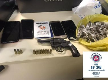 Feira: Arma, munições e drogas são apreendidas com três suspeitos em carro de App