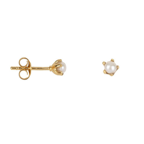 Betty Bogaers - Pearl Stud Earring Gold Plated