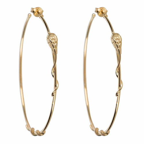 Betty Bogaers - Snake Hoop Stud Earring Gold Plated