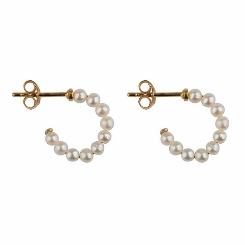 Betty Bogaers - Beads Pearl Stud Earring Gold Plated