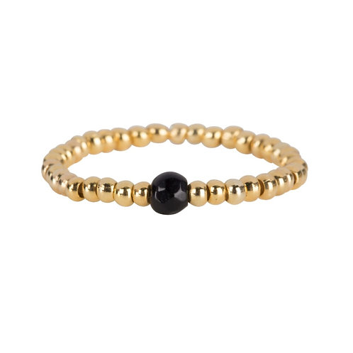 Betty Bogaers - Beads One Black Onyx Ring Gold Plated