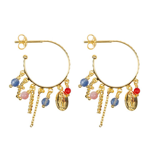 Betty Bogaers - Hoop Maria and Cross Beads and Colors Earring Gold Plated