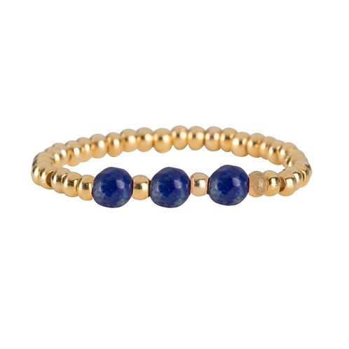 Betty Bogaers - Beads Three Lapis Lazuli Ring Gold Plated