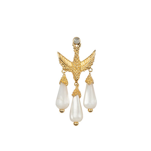 Betty Bogaers - Bird Three White Stones Stud Earing Gold Plated (SINGLE PIECE)