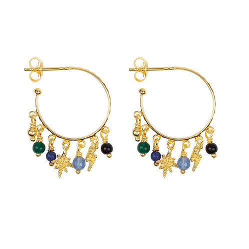 Hoop Dotted Beads and Colors Earring Gold Plated - Betty Bogaers