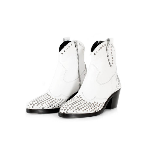 White Studded Leather Ankle Boots - Toral