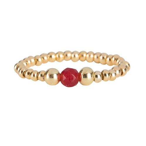 Betty Bogaers - Beads One Red Agate and Two Big Beads Ring Gold Plated