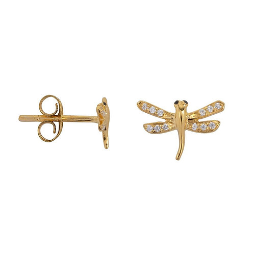 Betty Bogaers - Dragonfly Zirkonia Stud Earring Gold Plated (PER SINGLE PIECE)