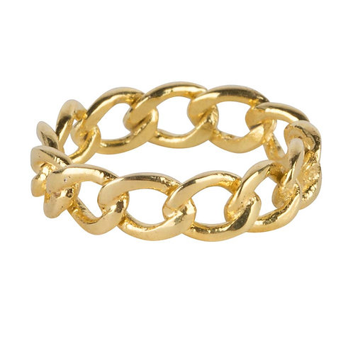 Big Open Chain Ring Gold Plated - Betty Bogaers