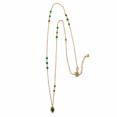 Betty Bogaers - Beads Green and Camel Antique Drop Necklace Gold Plated
